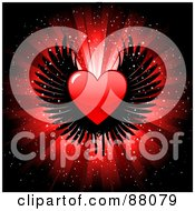Royalty Free RF Clipart Illustration Of A Shiny Red Heart With Black Wings Over A Glittery Burst Background by KJ Pargeter