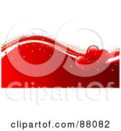 Royalty Free RF Clipart Illustration Of Two Shiny Red Hearts With Sparkles On Waves Over Red And White by KJ Pargeter