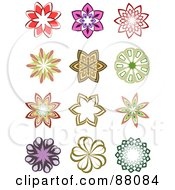 Royalty Free RF Clipart Illustration Of A Digital Collage Of Twelve Floral Design Elements by KJ Pargeter