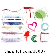 Digital Collage Of Colorful Grungy Borders Drips Splatters And Shapes