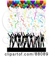 Silhouetted Dancing Group Under Confetti And Party Balloons On White