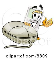 Clipart Picture Of A Calculator Mascot Cartoon Character With A Computer Mouse by Toons4Biz
