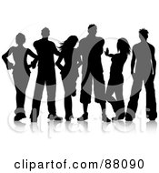 Royalty Free RF Clipart Illustration Of A Black Silhouetted Group Of Young Men And Women Posing With Attitude