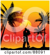 Royalty Free RF Clipart Illustration Of A Couple In Silhouette Kissing Under Palm Trees Against A Tropical Sunset by KJ Pargeter