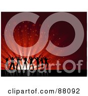 Royalty Free RF Clipart Illustration Of Silhouetted Young People Dancing Over A Red Starry Burst Background On Reflective Black