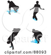 Royalty Free RF Clipart Illustration Of A Digital Collage Of Four B Boy Dancers With Blue Shadows Version 1 by tdoes