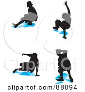 Royalty Free RF Clipart Illustration Of A Digital Collage Of Four B Boy Dancers With Blue Shadows Version 2