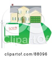 Royalty Free RF Clipart Illustration Of A Sold Sign In Front Of A Sold Two Story Home
