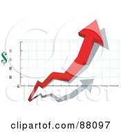 Royalty Free RF Clipart Illustration Of A 3d Red Arrow Depicting Profit In Dollars by tdoes
