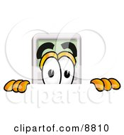 Clipart Picture Of A Calculator Mascot Cartoon Character Peeking Over A Surface
