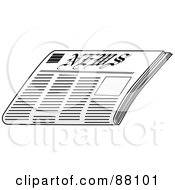 Royalty Free RF Clipart Illustration Of A Folded Newspaper With Black Text Lines