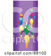 Royalty Free RF Clipart Illustration Of Three Racing Rockets Over Purple by tdoes