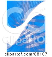 Blue Background With A Bright White Swoosh Stripes And Binary Coding
