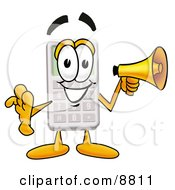 Clipart Picture Of A Calculator Mascot Cartoon Character Holding A Megaphone