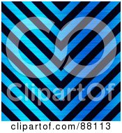 Royalty Free RF Clipart Illustration Of A Black And Brushed Blue Metal Hazard Stripes Background