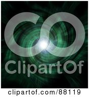 Royalty Free RF Clipart Illustration Of A Bright Light Shining At The End Of A Green Cosmic Tunnel On Black