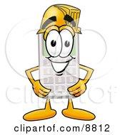 Calculator Mascot Cartoon Character Wearing A Helmet
