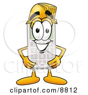 Clipart Picture Of A Calculator Mascot Cartoon Character Wearing A Helmet