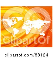 Royalty Free RF Clipart Illustration Of A White Atlas Over Orange Ripples With Binary Code by Arena Creative