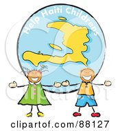 Royalty Free RF Clipart Illustration Of Two Stick Children Standing In Front Of A Haiti Globe
