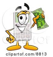 Calculator Mascot Cartoon Character Holding A Dollar Bill