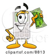 Clipart Picture Of A Calculator Mascot Cartoon Character Holding A Dollar Bill by Toons4Biz