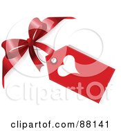Royalty Free RF Clipart Illustration Of A Heart Gift Tag Attached To A Red Bow