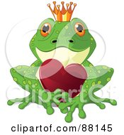 Royalty Free RF Clipart Illustration Of A Green Frog Prince With A Crown And Red Heart by Pushkin