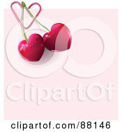 Royalty Free RF Clipart Illustration Of A Heart Paperclip Attaching Cherries To A Pink Note by Pushkin