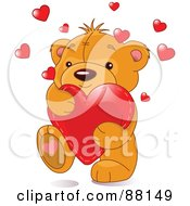 Royalty Free RF Clipart Illustration Of A Cute Amorous Teddy Bear Carrying A Red Love Heart