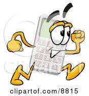 Calculator Mascot Cartoon Character Running
