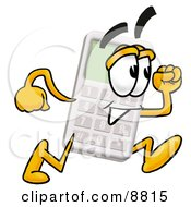 Clipart Picture Of A Calculator Mascot Cartoon Character Running by Toons4Biz