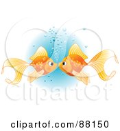 Royalty Free RF Clipart Illustration Of A Goldfish Pair Smooching With Bubbles by Pushkin