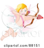 Royalty Free RF Clipart Illustration Of An Aiming Blond Cupid With Heart Arrow by Pushkin