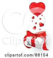 Royalty Free RF Clipart Illustration Of A Heart Balloon And Hearts Over A Gift Box