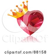 Royalty Free RF Clipart Illustration Of A Golden Crown On A Gem Heart by Pushkin