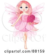 Royalty Free RF Clipart Illustration Of A Cute Pink Love Fairy Holding A Sparkly Heart by Pushkin