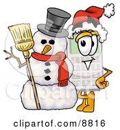 Clipart Picture Of A Calculator Mascot Cartoon Character With A Snowman On Christmas by Toons4Biz