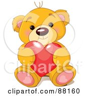 Royalty Free RF Clipart Illustration Of A Sitting Teddy Bear Holding A Red Love Heart by Pushkin