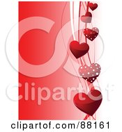 Royalty Free RF Clipart Illustration Of A Gradient Red Valentine Background With A Side Border Of Red Hearts