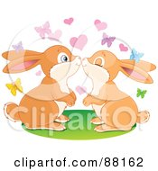 Royalty Free RF Clipart Illustration Of A Cute Rabbit Pair Smooching Under Butterflies And Hearts