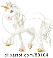 Royalty Free RF Clipart Illustration Of A Cute And Majestic White Unicorn With Gold Hooves