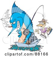 Royalty Free RF Clipart Illustration Of A Marlin Smoking A Cigar And Reeling In A Man On A Hook by toonaday