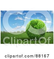 Royalty Free RF Clipart Illustration Of A 3d Botanical American Earth Of Leaves On A Field Of Grass by Mopic