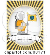 Royalty Free RF Clipart Illustration Of An Astronaut With Flag Over A Blank Banner With Yellow Retro Bursts by mheld
