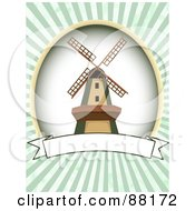 Royalty Free RF Clipart Illustration Of A Windmill Over A Blank Banner With Green Retro Bursts