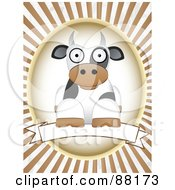 Royalty Free RF Clipart Illustration Of A Cow Resting Over A Blank Banner With Brown Retro Bursts