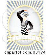 Royalty Free RF Clipart Illustration Of A Masked Dancer Over A Blank Banner With Blue Retro Bursts by mheld