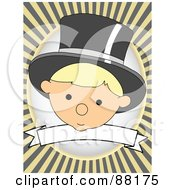 Royalty Free RF Clipart Illustration Of A Baby Wearing A Hat Over A Blank Banner With Yellow Retro Bursts by mheld