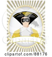 Royalty Free RF Clipart Illustration Of A Masked Man Over A Blank Banner With Brown Retro Bursts by mheld